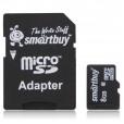 Флеш карта Micro SDHC 8Gb Smartbuy Class 10 (с адаптером)