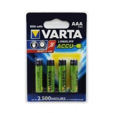 Аккумулятор AAA VARTA Longlife Accu AAA 800 мАч BL4 (4шт.)