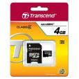 Флеш карта Micro SDHC 8Gb Transcend Class 4 <TS8GUSDHC4>