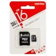 Флеш карта Micro SDHC 16Gb Smart Buy Сlass 10 (с адаптером SD)