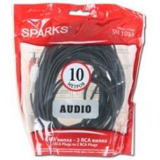 Кабель межблочный 2 RCA <--> 2 RCA, 10м Sparks