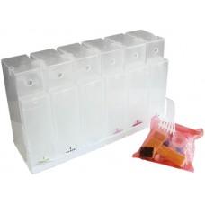 Блок ёмкостей для СНПЧ 6 шт. 350 мл., бесцветные подставки, комплект з/ч, шлейф 10см. с переходником